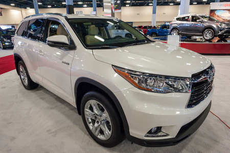 highlander: Miami Beach, FL, USA - November 6, 2015:  Toyota Highlander hybrid on display during the 2015 Miami International Auto Show at the Miami Beach Convention Center in downtown Miami Beach.