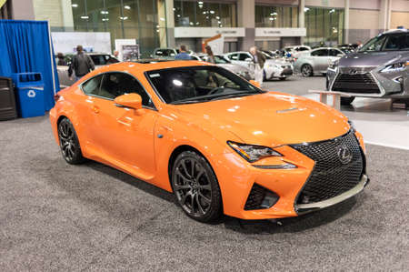 lexus auto: CHARLOTTE, NC, USA - November 11, 2015: Lexus RC F on display during the 2015 Charlotte International Auto Show at the Charlotte Convention Center in downtown Charlotte.