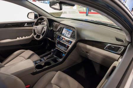 sonata: Miami Beach, FL, USA - November 6, 2015: Hyundai Sonata hybrid interior on display during the 2015 Miami International Auto Show at the Miami Beach Convention Center in downtown Miami Beach.