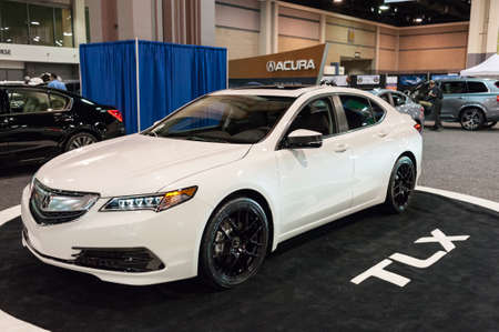 acura: CHARLOTTE, NC, USA - November 11, 2015: Acura TLX on display during the 2015 Charlotte International Auto Show at the Charlotte Convention Center in downtown Charlotte.