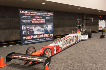 dragster: CHARLOTTE, NC, USA - November 11, 2015: BRAKES Teen Pro Active Driving School dragster on display during the 2015 Charlotte International Auto Show at the Charlotte Convention Center in downtown Charlotte.
