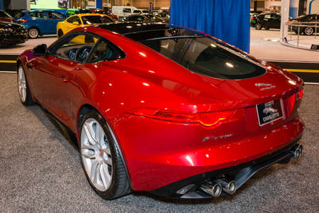 charlotte: Charlotte, North Carolina - November 20, 2014: Jaguar F-Type R coupe on display during the 2014 Charlotte International Auto Show at the Charlotte Convention Center.