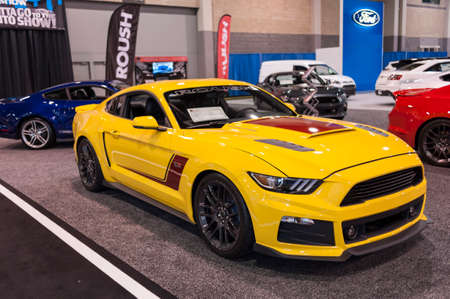 roush: CHARLOTTE, NC, USA - November 11, 2015: Roush Ford Mustang RS-3 on display during the 2015 Charlotte International Auto Show at the Charlotte Convention Center in downtown Charlotte.