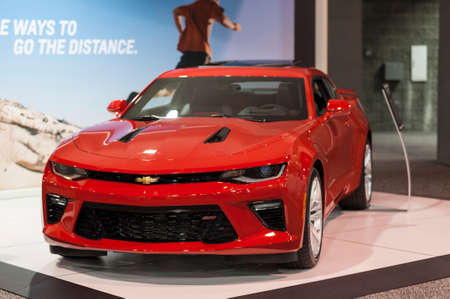 ss: CHARLOTTE, NC, USA - November 11, 2015: Chevrolet Camaro SS on display during the 2015 Charlotte International Auto Show at the Charlotte Convention Center in downtown Charlotte.
