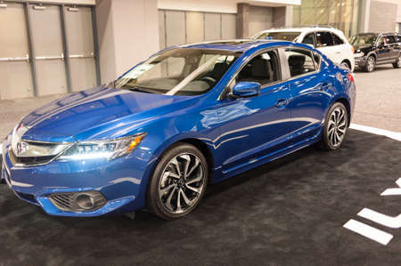 acura: CHARLOTTE, NC, USA - November 11, 2015: Acura ILX on display during the 2015 Charlotte International Auto Show at the Charlotte Convention Center in downtown Charlotte.