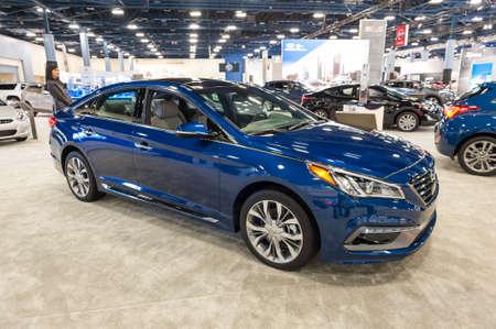 sonata: Miami Beach, FL, USA - November 6, 2015: Hyundai Sonata on display during the 2015 Miami International Auto Show at the Miami Beach Convention Center in downtown Miami Beach.