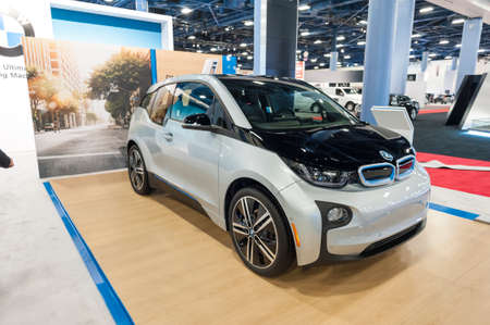 i3: Miami Beach, FL, USA - November 6, 2015:  BMW i3 electric car on display during the 2015 Miami International Auto Show at the Miami Beach Convention Center in downtown Miami Beach.