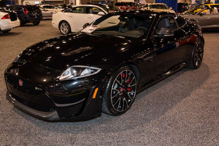 charlotte: Charlotte, NC, USA - November 20, 2014: Jaguar XKR-S coupe on display during the 2014 Charlotte International Auto Show at the Charlotte Convention Center.