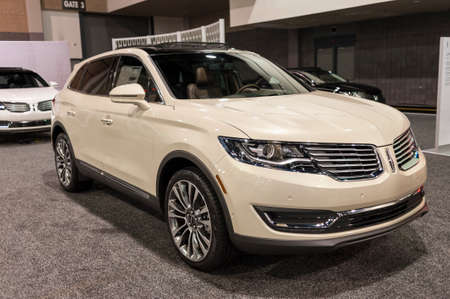 charlotte: CHARLOTTE, NC, USA - November 11, 2015: Lincoln MKX on display during the 2015 Charlotte International Auto Show at the Charlotte Convention Center in downtown Charlotte.