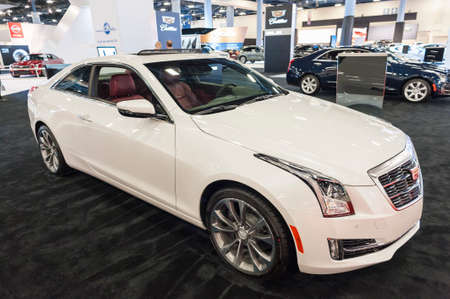 Miami Beach, FL, USA - November 6, 2015:  Cadillac ATS coupe on display during the 2015 Miami International Auto Show at the Miami Beach Convention Center in downtown Miami Beach.