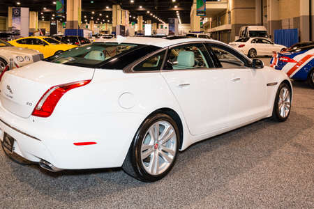 sedan: Charlotte, NC, USA - November 20, 2014: Jaguar XJ sedan on display during the 2014 Charlotte International Auto Show at the Charlotte Convention Center. Editorial