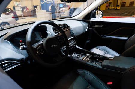 prestige: Miami, USA - September 10, 2016: Jaguar F-Pace Prestige SUV interior on display during the Miami International Auto Show at the Miami Beach Convention Center.