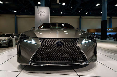 Convention Center: Miami, USA - September 10, 2016: Lexus LC 500h coupe on display during the Miami International Auto Show at the Miami Beach Convention Center.