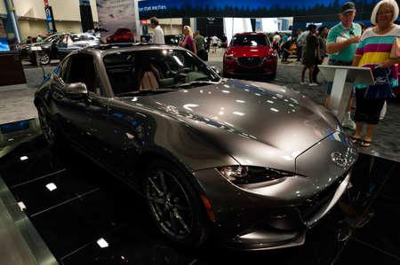 rf: Miami, USA - September 10, 2016: Mazda MX-5 Miata RF on display during the Miami International Auto Show at the Miami Beach Convention Center.
