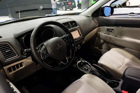 outlander: Miami, USA - September 10, 2016: Mitsubishi Outlander Sport SUV on display during the Miami International Auto Show at the Miami Beach Convention Center.