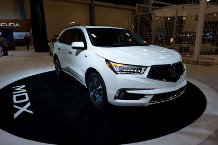 acura: Miami, USA - September 10, 2016: Acura MDX SUV on display during the Miami International Auto Show at the Miami Beach Convention Center.
