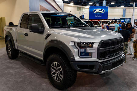 Miami, USA - September 10, 2016: Ford Raptor pickup truck on display during the Miami International Auto Show at the Miami Beach Convention Center. Editorial
