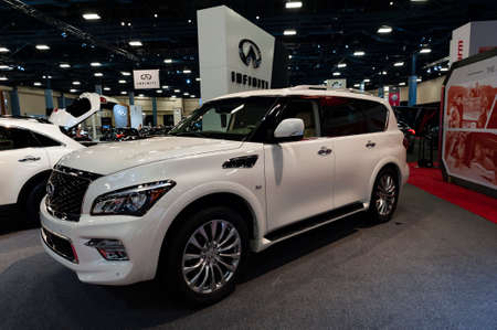 Convention Center: Miami, USA - September 10, 2016: Infinity QX80 SUV on display during the Miami International Auto Show at the Miami Beach Convention Center. Editorial