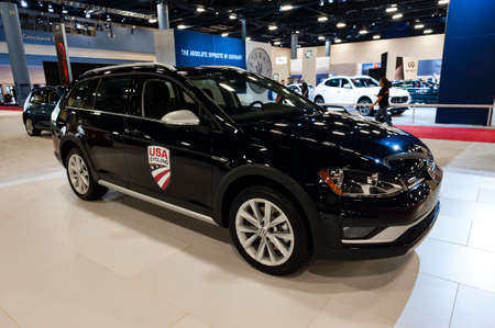 Miami, USA - September 10, 2016: Volkswagen Golf Alltrack on display during the Miami International Auto Show at the Miami Beach Convention Center.