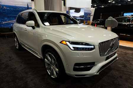 plugin: Miami, USA - September 10, 2016: Volvo XC90 T8 Twin Engine Plug-in hybrid SUV on display during the Miami International Auto Show at the Miami Beach Convention Center.