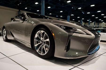 lexus: Miami, USA - September 10, 2016: Lexus LC 500h coupe on display during the Miami International Auto Show at the Miami Beach Convention Center.