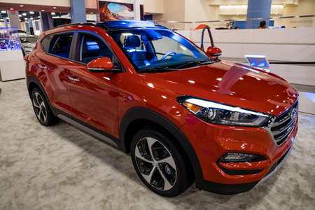 Miami, USA - September 10, 2016: Hyundai Tucson on display during the Miami International Auto Show at the Miami Beach Convention Center.