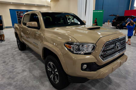 Miami, USA - September 10, 2016: Toyota Tacoma pickup truck on display during the Miami International Auto Show at the Miami Beach Convention Center. Editorial