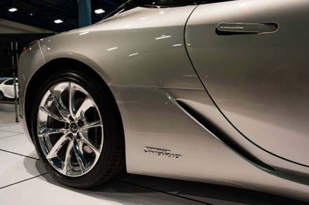 Miami, USA - September 10, 2016: Lexus LC 500h coupe on display during the Miami International Auto Show at the Miami Beach Convention Center.