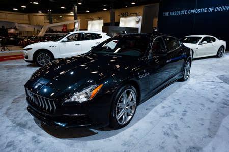 Convention Center: Miami, USA - September 10, 2016: Maserati Quattroporte S GranLusso sedan on display during the Miami International Auto Show at the Miami Beach Convention Center.