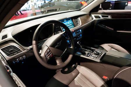 Miami, USA - September 10, 2016: Genesis G80 sedan on display during the Miami International Auto Show at the Miami Beach Convention Center.
