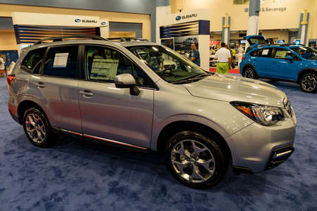 forester: Miami, USA - September 10, 2016: Subaru Forester on display during the Miami International Auto Show at the Miami Beach Convention Center. Editorial
