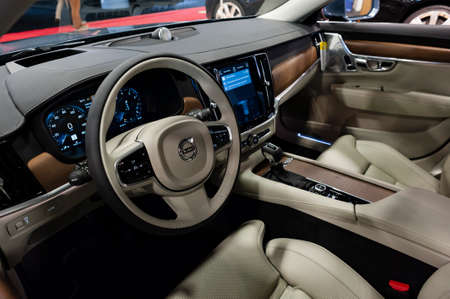 Convention Center: Miami, USA - September 10, 2016: Volvo S90 T6 AWD Inscription sedan on display during the Miami International Auto Show at the Miami Beach Convention Center. Editorial