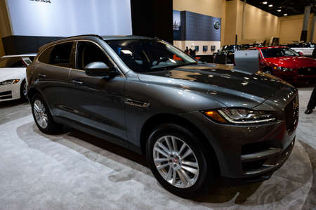Convention Center: Miami, USA - September 10, 2016: Jaguar F-Pace Prestige SUV on display during the Miami International Auto Show at the Miami Beach Convention Center.
