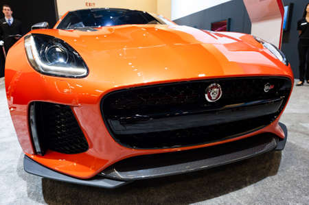 Convention Center: Miami, USA - September 10, 2016: Jaguar F-Type SVR coupe on display during the Miami International Auto Show at the Miami Beach Convention Center.