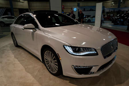 Miami, USA - September 10, 2016: Lincoln MKZ sedan on display during the Miami International Auto Show at the Miami Beach Convention Center. Editorial