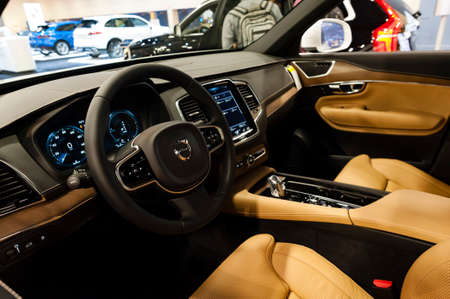 twin engine: Miami, USA - September 10, 2016: Volvo XC90 T8 Twin Engine Plug-in hybrid SUV on display during the Miami International Auto Show at the Miami Beach Convention Center.
