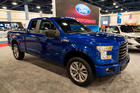 Miami, USA - September 10, 2016: Ford F150 pickup truck on display during the Miami International Auto Show at the Miami Beach Convention Center.