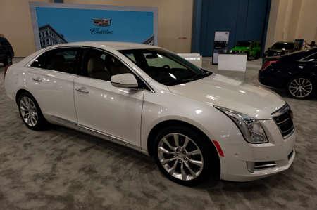 Miami, USA - September 10, 2016: Cadillac XTS sedan on display during the Miami International Auto Show at the Miami Beach Convention Center.