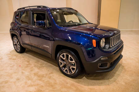 convention center: Miami, USA - September 10, 2016: Jeep Renegade on display during the Miami International Auto Show at the Miami Beach Convention Center.
