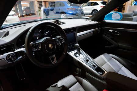 Miami, USA - September 10, 2016: Porsche Carrera S coupe on display during the Miami International Auto Show at the Miami Beach Convention Center. Editorial
