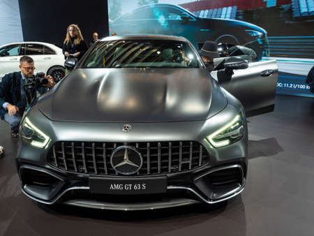 New York, US - March 28, 2018: Mercedes AMG GT 63 S on display during the 2018 New York International Auto Show held at the Jacob K. Javits Convention Center.