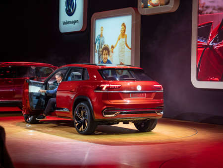 New York, US - March 28, 2018: Volkswagen Atlas Cross Sport debut during the 2018 New York International Auto Show held at the Jacob K. Javits Convention Center. Editorial