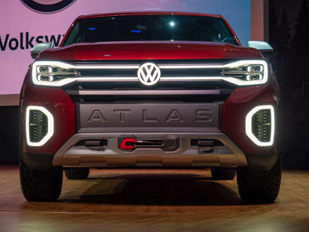 New York, US - March 28, 2018: Volkswagen Tanoak debut during the 2018 New York International Auto Show held at the Jacob K. Javits Convention Center. Editorial