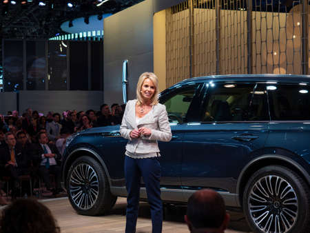 New York, US - March 28, 2018: Joy Falotico, President of Lincoln Motor Company, debuts the Lincoln Aviator during the 2018 New York International Auto Show held at the Jacob K. Javits Convention Center.
