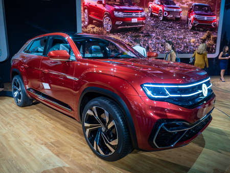 New York, US - March 28, 2018: Volkswagen Atlas Cross Sport on display during the 2018 New York International Auto Show held at the Jacob K. Javits Convention Center.