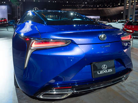 New York, US - March 28, 2018: Lexus LC500 on display during the 2018 New York International Auto Show held at the Jacob K. Javits Convention Center.