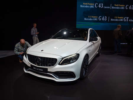 New York, US - March 28, 2018: Mercedes AMG C 63 sedan on display during the 2018 New York International Auto Show held at the Jacob K. Javits Convention Center.