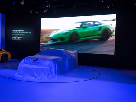 New York, US - March 28, 2018: Porsche press conference during the 2018 New York International Auto Show held at the Jacob K. Javits Convention Center.