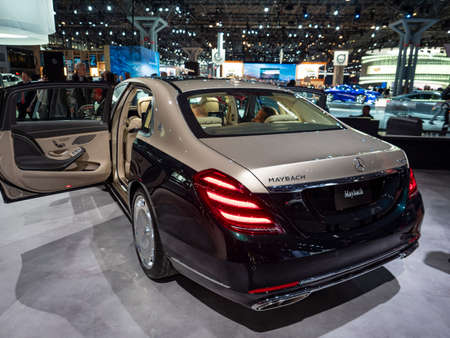 New York, US - March 28, 2018: Mercedes-Maybach S-Class sedan on display during the 2018 New York International Auto Show held at the Jacob K. Javits Convention Center. Editorial
