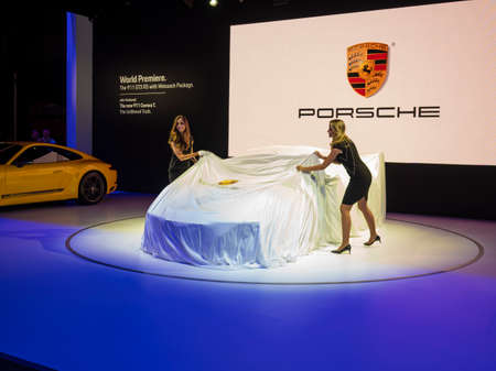 New York, US - March 28, 2018: Porsche debuts the new 911 GT3 RS Weissach Package during the 2018 New York International Auto Show held at the Jacob K. Javits Convention Center. Editorial